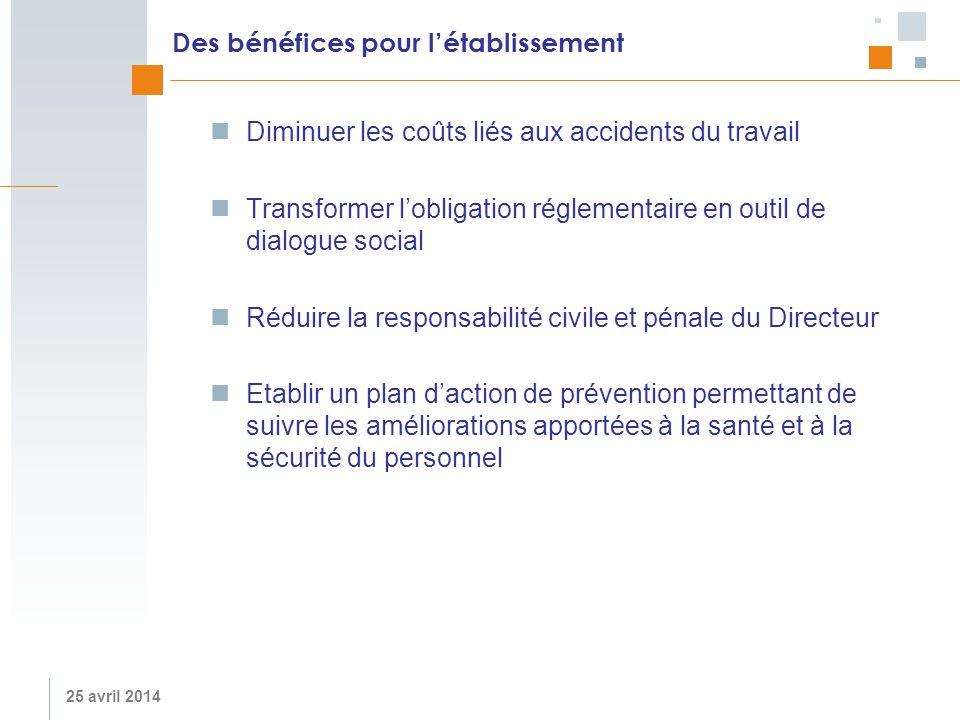 25 avril 2014 Des bénéfices pour létablissement Diminuer les coûts liés aux accidents du travail Transformer lobligation réglementaire en outil de dia
