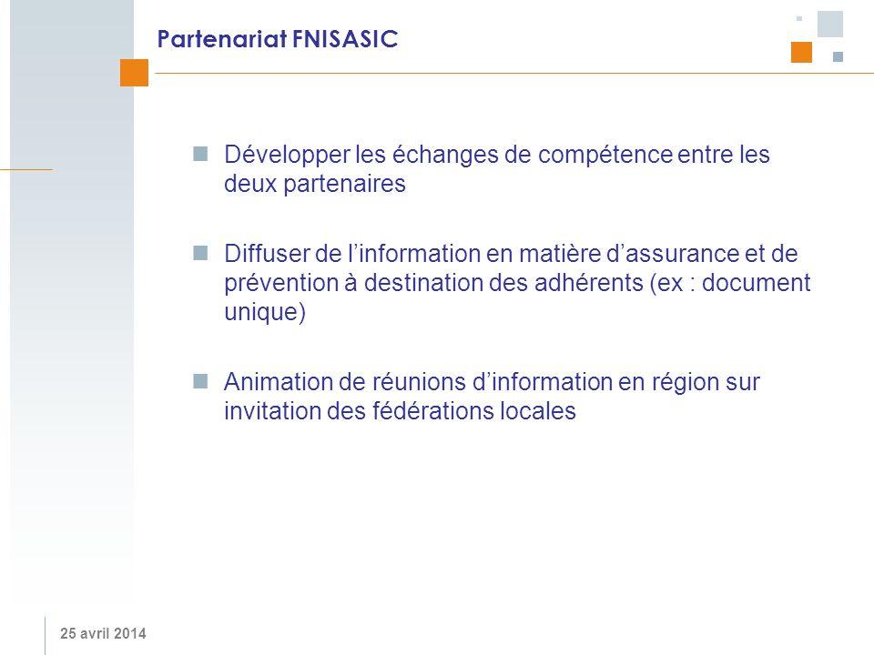 25 avril 2014 Partenariat FNISASIC Développer les échanges de compétence entre les deux partenaires Diffuser de linformation en matière dassurance et