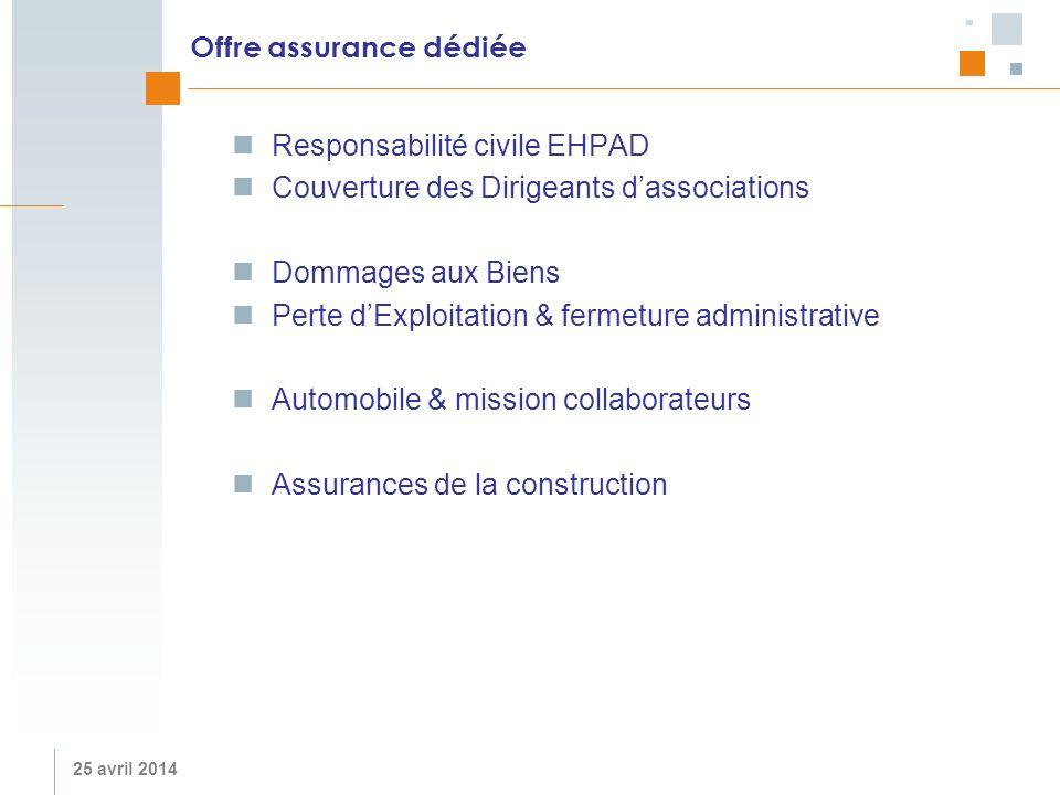 25 avril 2014 Offre assurance dédiée Responsabilité civile EHPAD Couverture des Dirigeants dassociations Dommages aux Biens Perte dExploitation & ferm