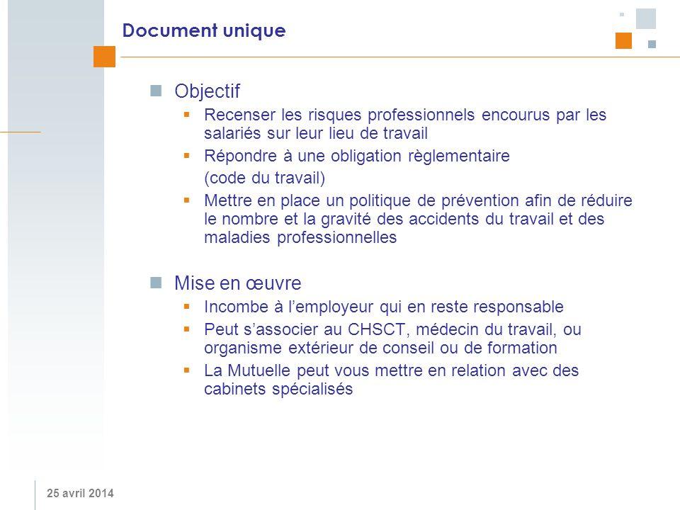 25 avril 2014 Document unique Objectif Recenser les risques professionnels encourus par les salariés sur leur lieu de travail Répondre à une obligatio