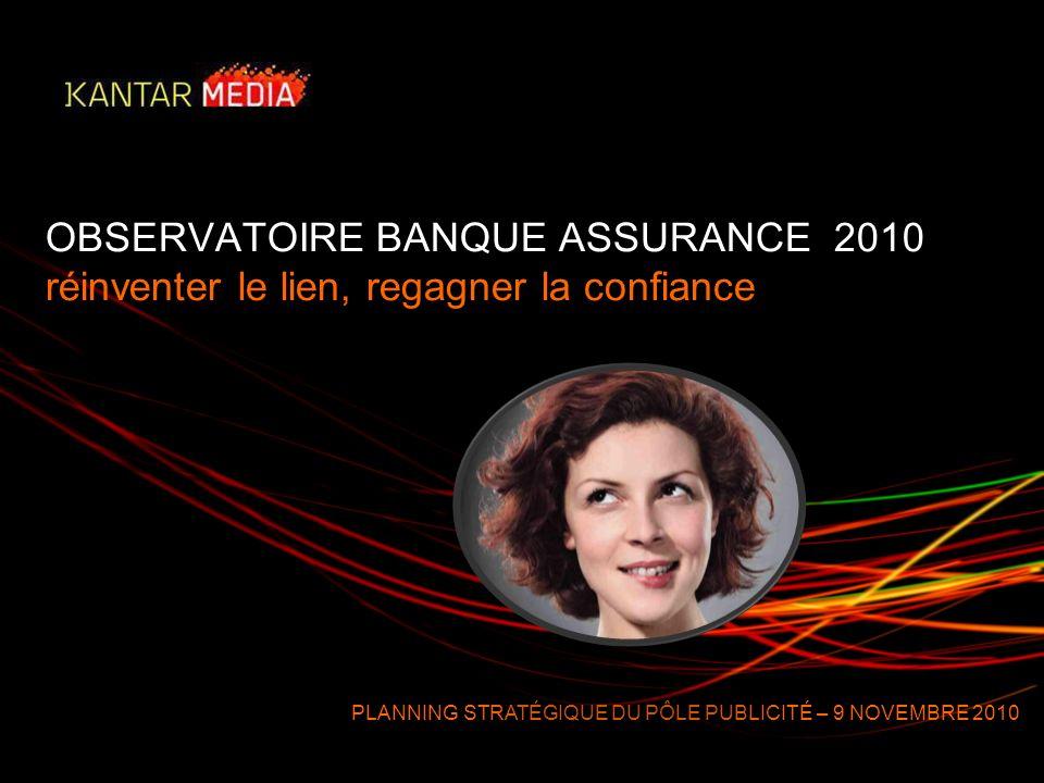 OBSERVATOIRE BANQUE ASSURANCE 2010 réinventer le lien, regagner la confiance PLANNING STRATÉGIQUE DU PÔLE PUBLICITÉ – 9 NOVEMBRE 2010