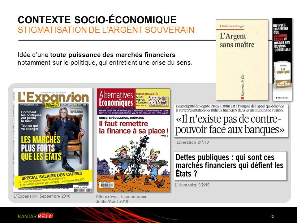 12 Idée dune toute puissance des marchés financiers notamment sur le politique, qui entretient une crise du sens. LExpansion Septembre 2010 Alternativ