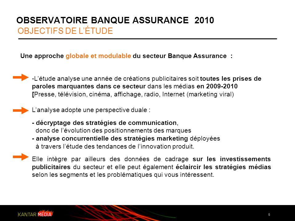 5 OBSERVATOIRE BANQUE ASSURANCE 2010 OBJECTIFS DE LÉTUDE Une approche globale et modulable du secteur Banque Assurance : -Létude analyse une année de