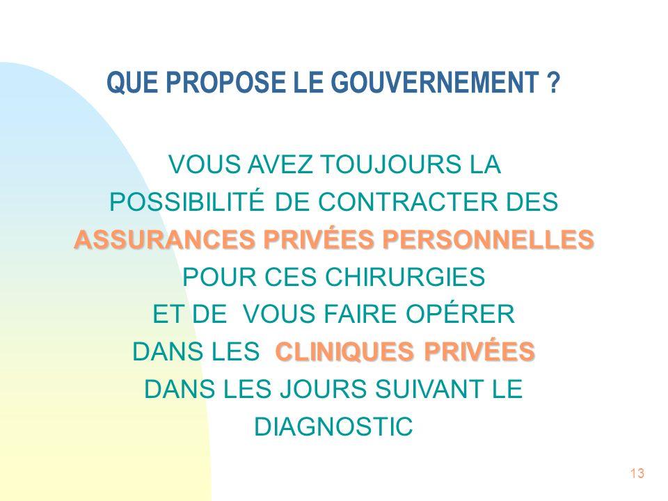 13 QUE PROPOSE LE GOUVERNEMENT .