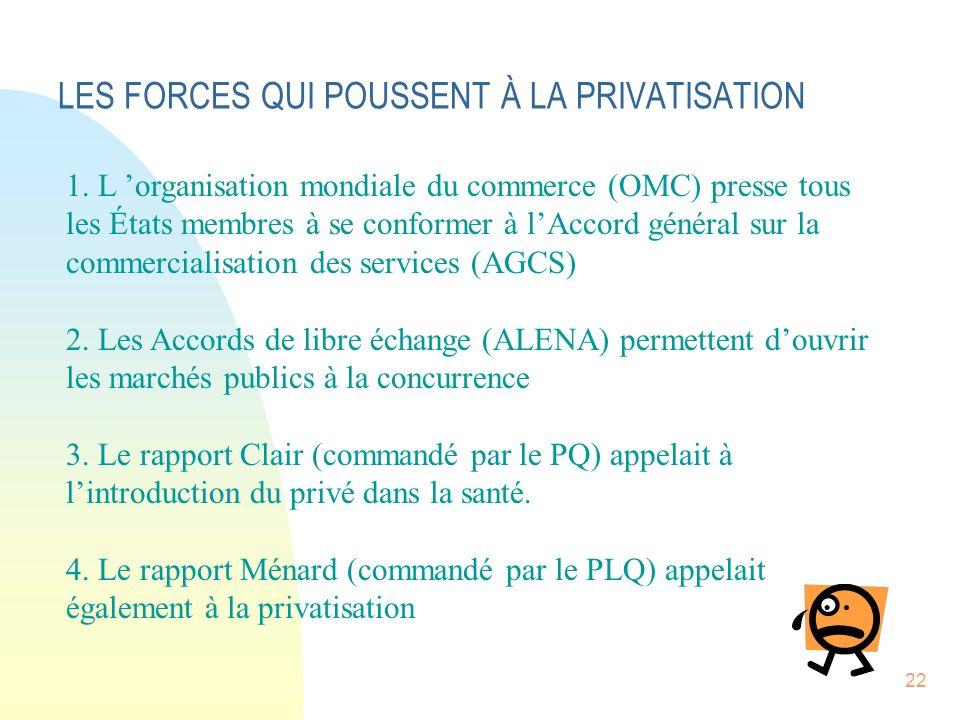 22 LES FORCES QUI POUSSENT À LA PRIVATISATION 1.