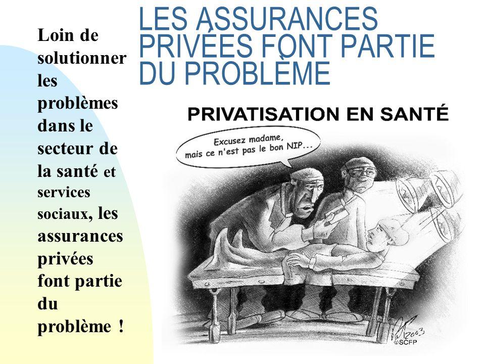 28 LES ASSURANCES PRIVÉES FONT PARTIE DU PROBLÈME Loin de solutionner les problèmes dans le secteur de la santé et services sociaux, les assurances privées font partie du problème !