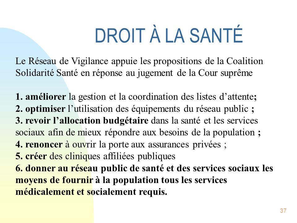 37 Le Réseau de Vigilance appuie les propositions de la Coalition Solidarité Santé en réponse au jugement de la Cour suprême 1.