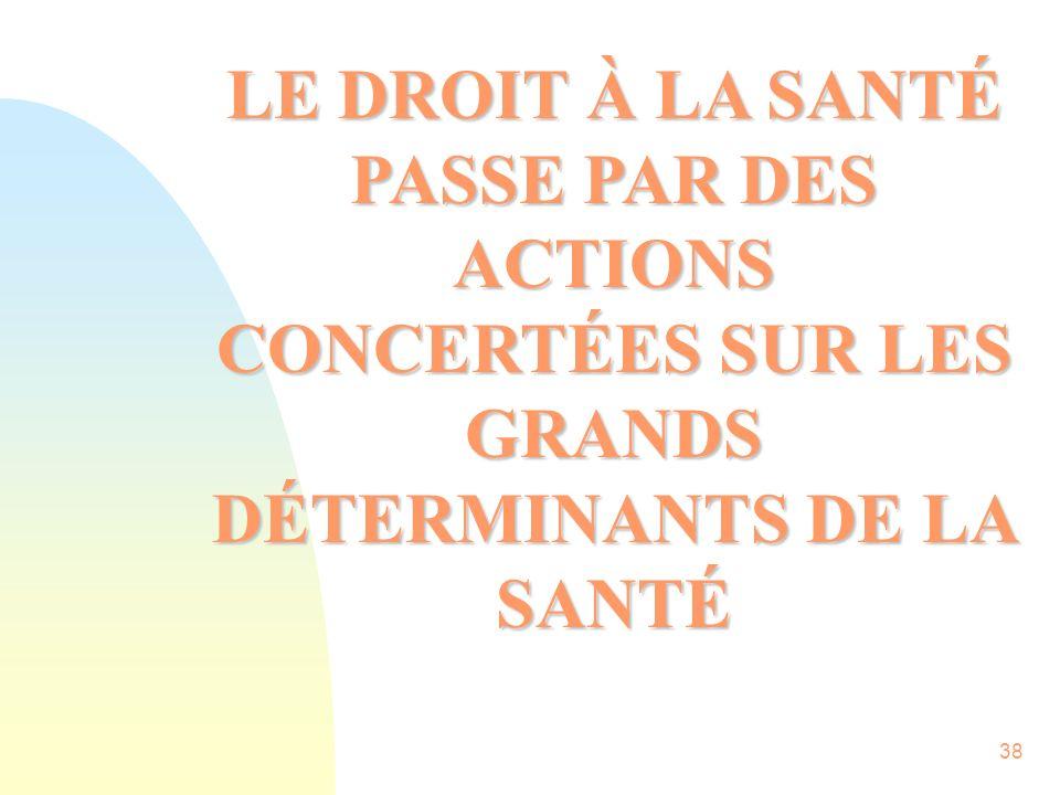 38 LE DROIT À LA SANTÉ PASSE PAR DES ACTIONS CONCERTÉES SUR LES GRANDS DÉTERMINANTS DE LA SANTÉ