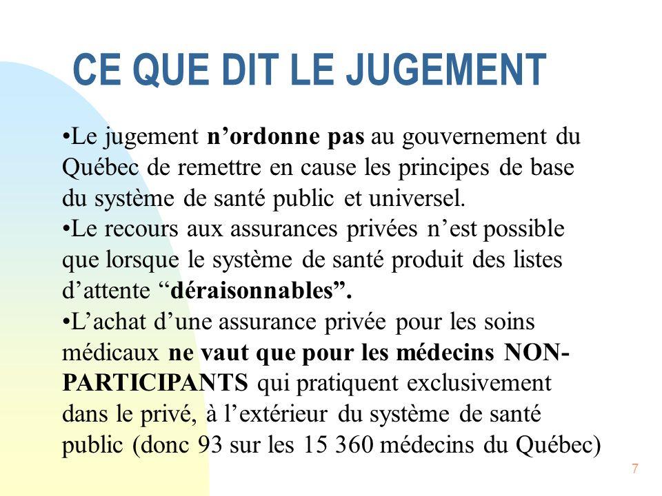 7 CE QUE DIT LE JUGEMENT Le jugement nordonne pas au gouvernement du Québec de remettre en cause les principes de base du système de santé public et universel.