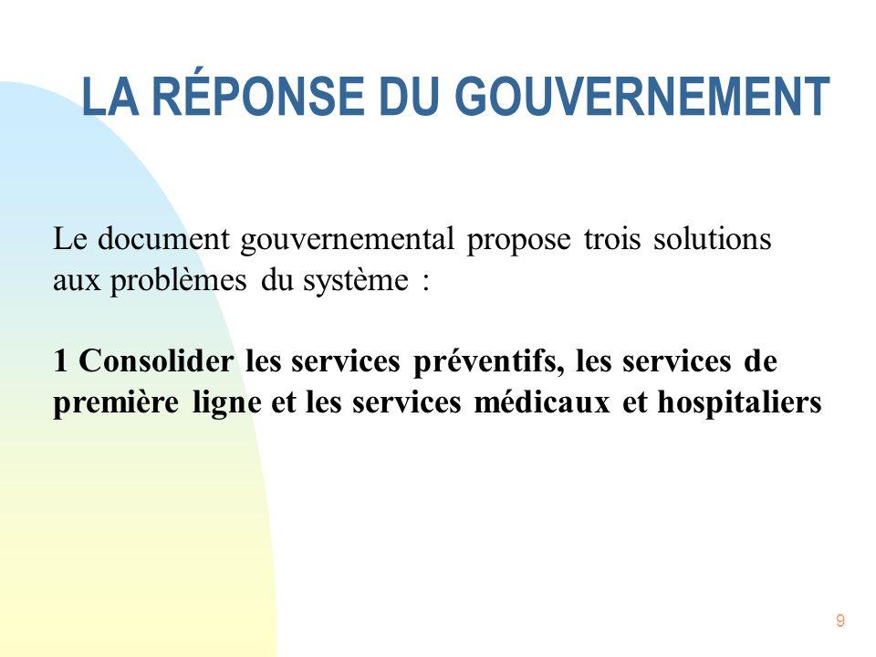9 LA RÉPONSE DU GOUVERNEMENT Le document gouvernemental propose trois solutions aux problèmes du système : 1 Consolider les services préventifs, les services de première ligne et les services médicaux et hospitaliers