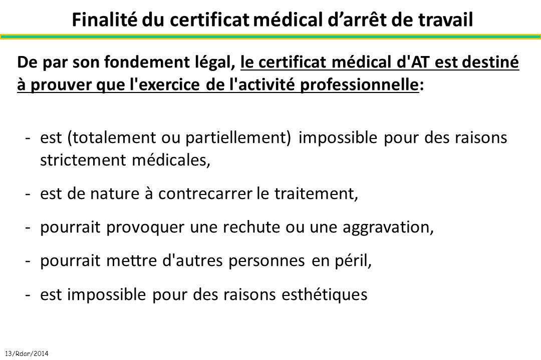 Finalité du certificat médical darrêt de travail De par son fondement légal, le certificat médical d'AT est destiné à prouver que l'exercice de l'acti