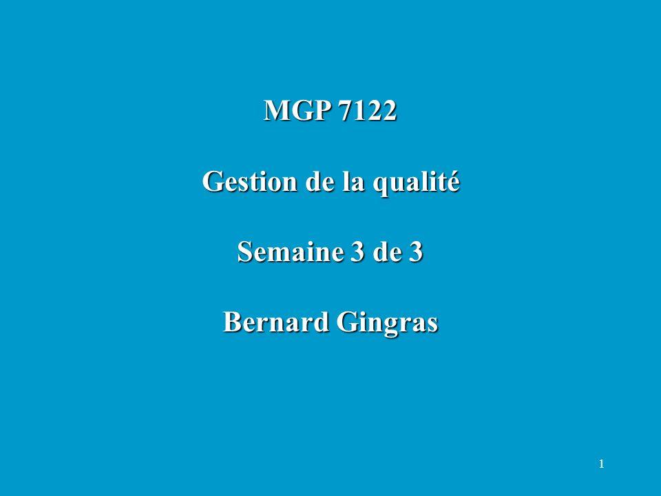 1 MGP 7122 Gestion de la qualité Semaine 3 de 3 Bernard Gingras