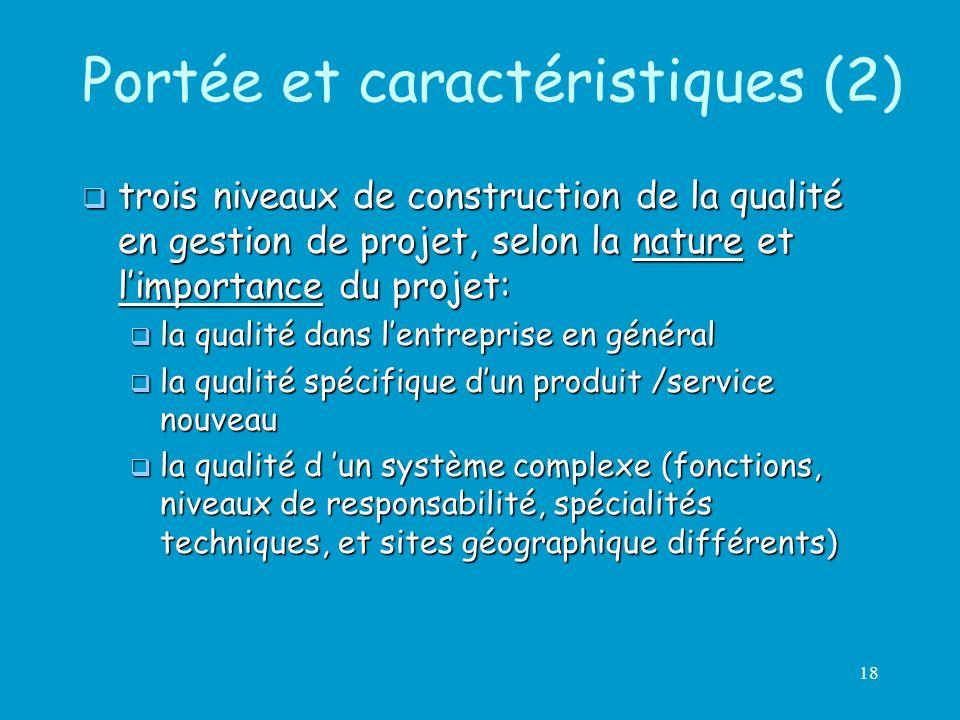 18 Portée et caractéristiques (2) trois niveaux de construction de la qualité en gestion de projet, selon la nature et limportance du projet: trois ni