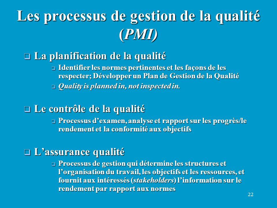 22 La planification de la qualité La planification de la qualité Identifier les normes pertinentes et les façons de les respecter; Développer un Plan