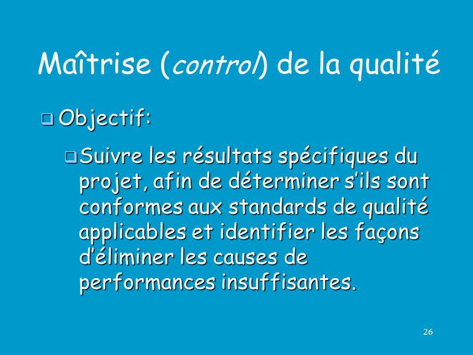 26 Maîtrise ( control ) de la qualité Objectif: Objectif: Suivre les résultats spécifiques du projet, afin de déterminer sils sont conformes aux stand