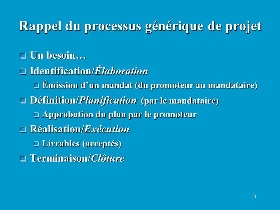 3 Un besoin… Un besoin… Identification/Élaboration Identification/Élaboration Émission dun mandat (du promoteur au mandataire) Émission dun mandat (du