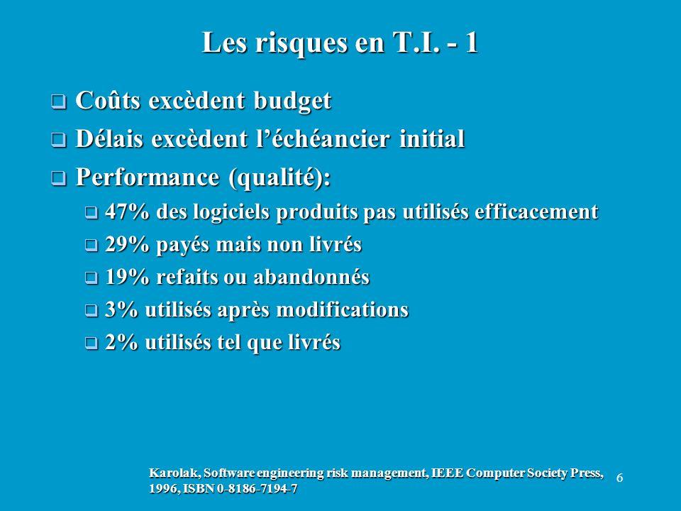 6 Coûts excèdent budget Coûts excèdent budget Délais excèdent léchéancier initial Délais excèdent léchéancier initial Performance (qualité): Performan