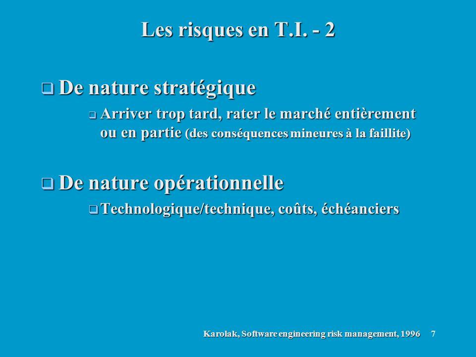 7 De nature stratégique De nature stratégique Arriver trop tard, rater le marché entièrement ou en partie (des conséquences mineures à la faillite) Ar