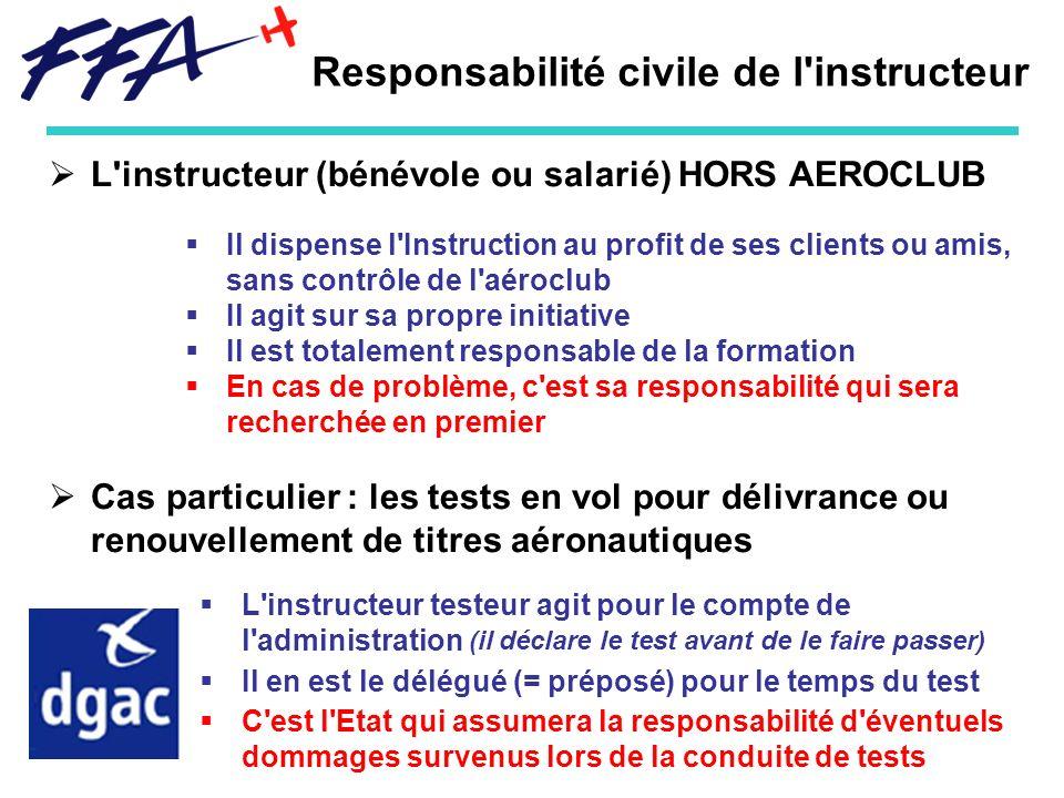 Responsabilité civile de l'instructeur L'instructeur (bénévole ou salarié) HORS AEROCLUB Il dispense l'Instruction au profit de ses clients ou amis, s