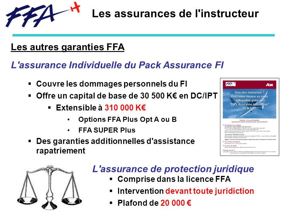 Les autres garanties FFA Les assurances de l'instructeur L'assurance Individuelle du Pack Assurance FI Couvre les dommages personnels du FI Offre un c