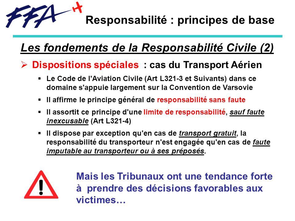 Responsabilité : principes de base Les fondements de la Responsabilité Civile (2) Dispositions spéciales : cas du Transport Aérien Le Code de l'Aviati