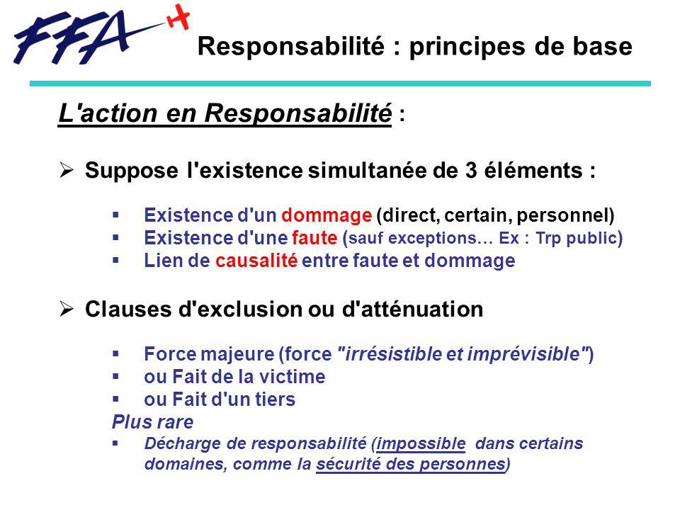 Responsabilité : principes de base L'action en Responsabilité : Suppose l'existence simultanée de 3 éléments : Existence d'un dommage (direct, certain