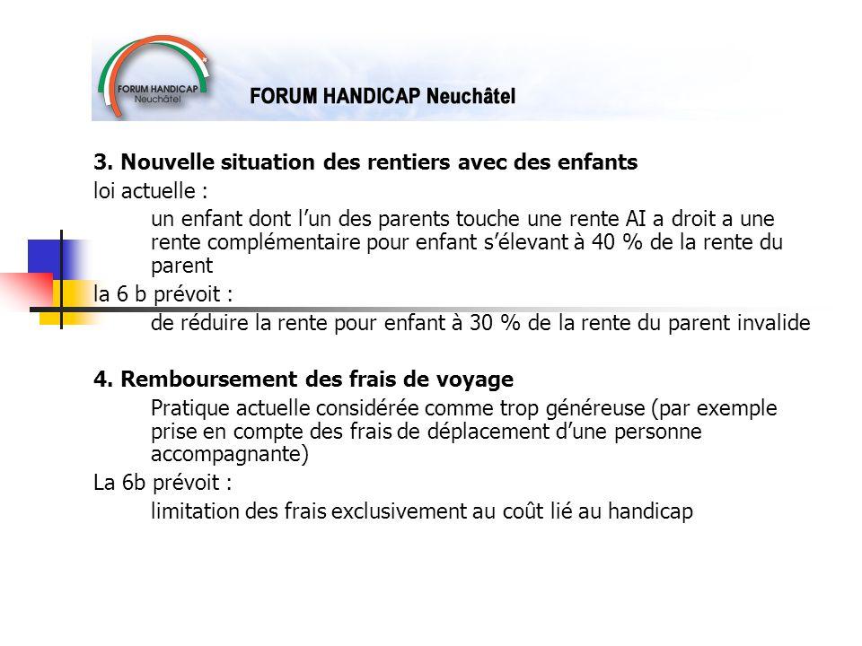 3. Nouvelle situation des rentiers avec des enfants loi actuelle : un enfant dont lun des parents touche une rente AI a droit a une rente complémentai