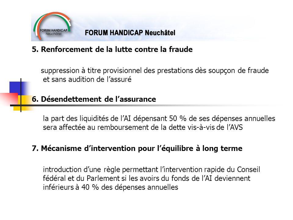 5. Renforcement de la lutte contre la fraude suppression à titre provisionnel des prestations dès soupçon de fraude et sans audition de lassuré 6. Dés