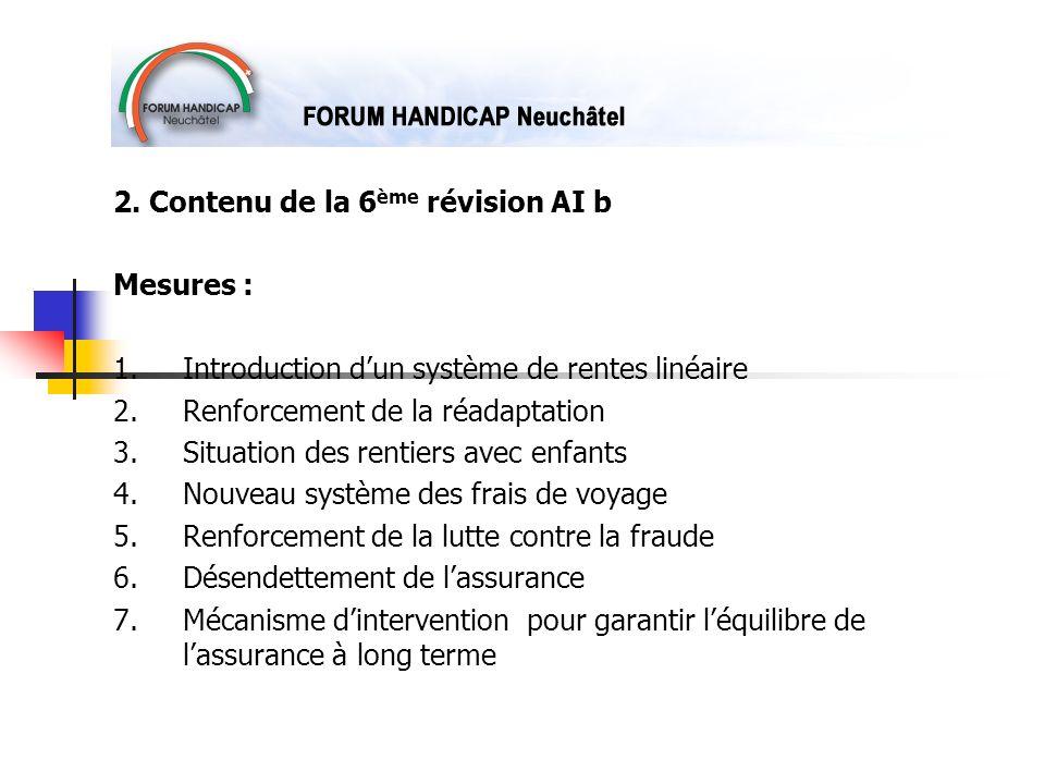 2. Contenu de la 6 ème révision AI b Mesures : 1.Introduction dun système de rentes linéaire 2. Renforcement de la réadaptation 3.Situation des rentie