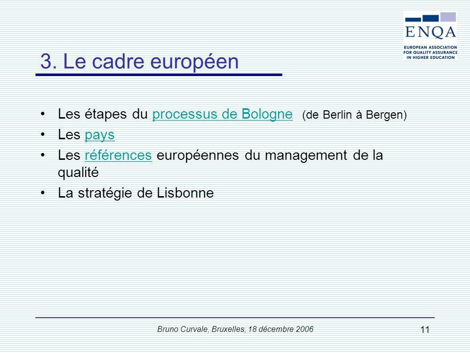 Bruno Curvale, Bruxelles, 18 décembre 2006 11 3. Le cadre européen Les étapes du processus de Bologne (de Berlin à Bergen)processus de Bologne Les pay