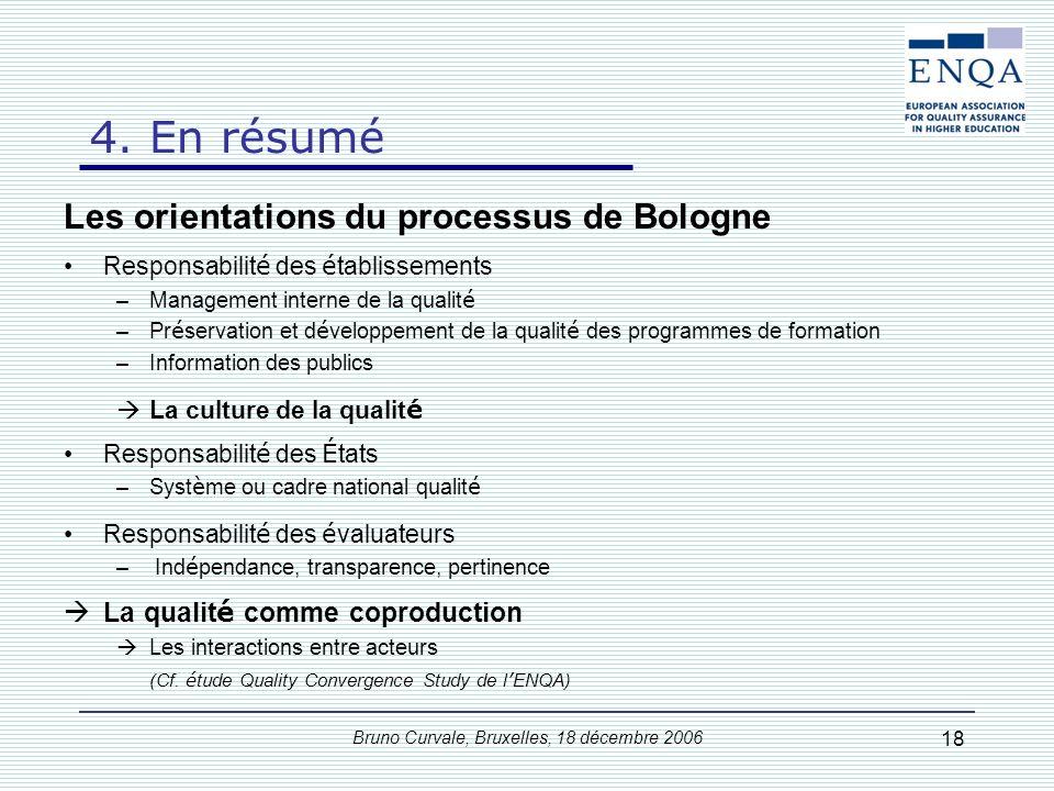 Bruno Curvale, Bruxelles, 18 décembre 2006 18 Les orientations du processus de Bologne Responsabilit é des é tablissements –Management interne de la q
