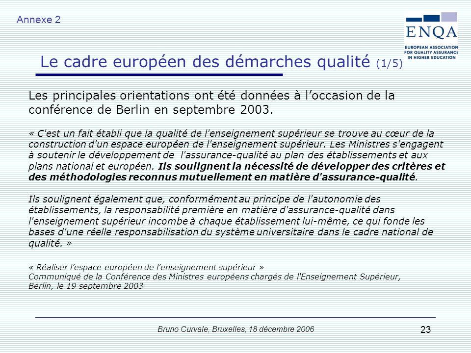 Bruno Curvale, Bruxelles, 18 décembre 2006 23 Les principales orientations ont été données à loccasion de la conférence de Berlin en septembre 2003. «