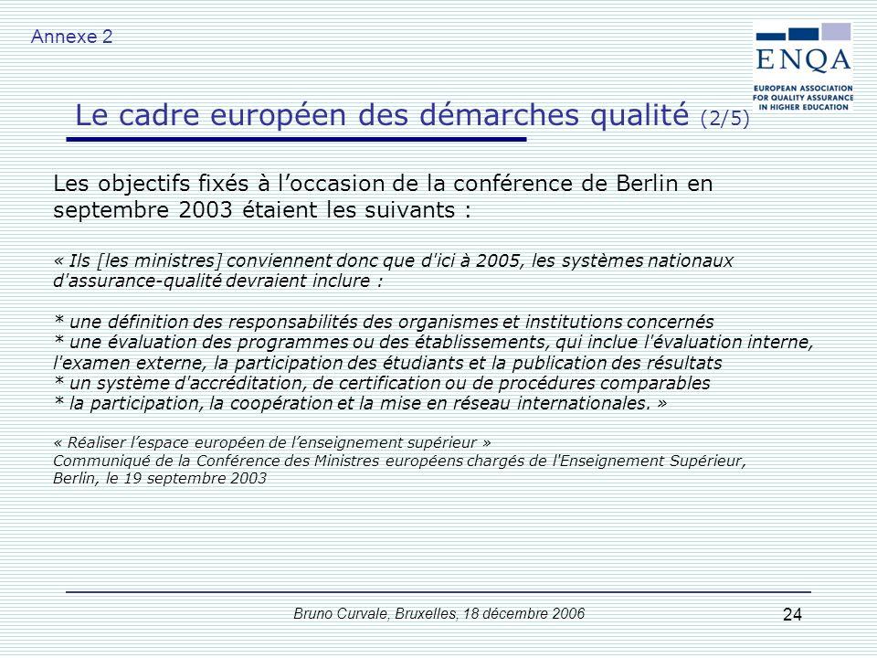 Bruno Curvale, Bruxelles, 18 décembre 2006 24 Les objectifs fixés à loccasion de la conférence de Berlin en septembre 2003 étaient les suivants : « Il