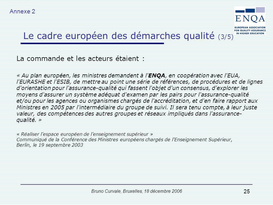Bruno Curvale, Bruxelles, 18 décembre 2006 25 La commande et les acteurs étaient : « Au plan européen, les ministres demandent à l'ENQA, en coopératio