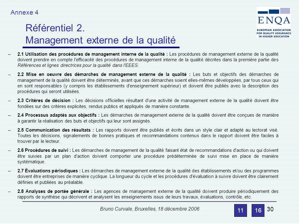 Bruno Curvale, Bruxelles, 18 décembre 2006 30 –2.1 Utilisation des procédures de management interne de la qualité : Les procédures de management exter