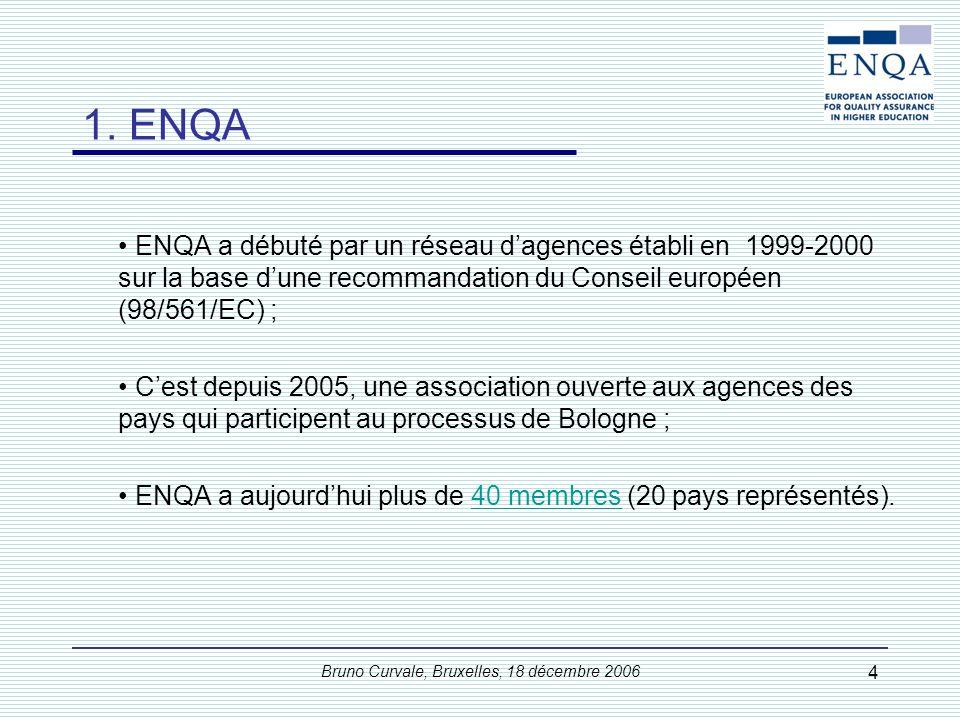 Bruno Curvale, Bruxelles, 18 décembre 2006 25 La commande et les acteurs étaient : « Au plan européen, les ministres demandent à l ENQA, en coopération avec l EUA, l EURASHE et l ESIB, de mettre au point une série de références, de procédures et de lignes d orientation pour l assurance-qualité qui fassent l objet d un consensus, d explorer les moyens d assurer un système adéquat d examen par les pairs pour l assurance-qualité et/ou pour les agences ou organismes chargés de l accréditation, et d en faire rapport aux Ministres en 2005 par l intermédiaire du groupe de suivi.