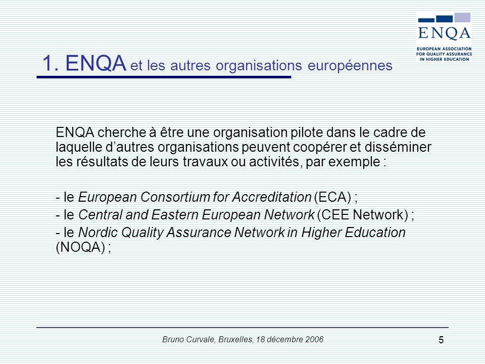 Bruno Curvale, Bruxelles, 18 décembre 2006 5 1. ENQA et les autres organisations européennes ENQA cherche à être une organisation pilote dans le cadre