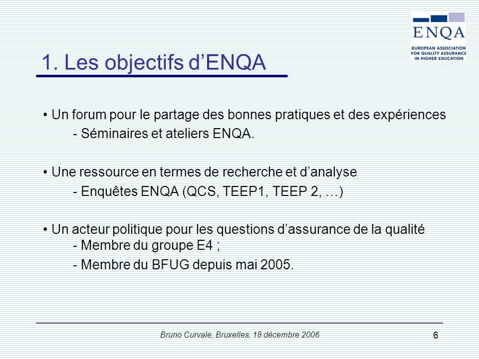 Bruno Curvale, Bruxelles, 18 décembre 2006 6 1. Les objectifs dENQA Un forum pour le partage des bonnes pratiques et des expériences - Séminaires et a