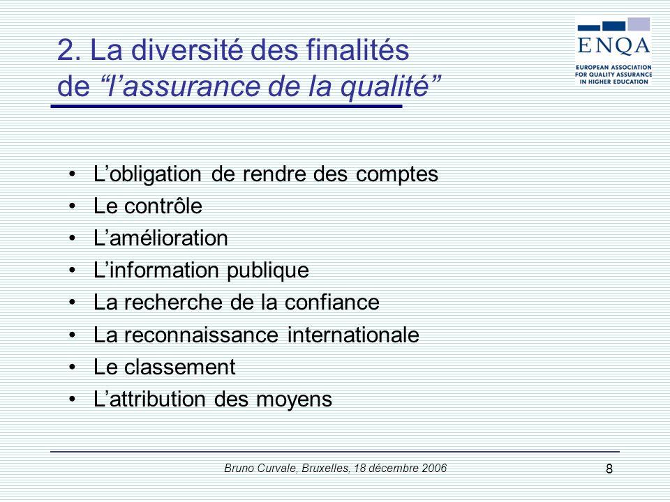 Bruno Curvale, Bruxelles, 18 décembre 2006 29 –1.1 Politique et procédures pour le management de la qualité : Les établissements doivent avoir une politique et des procédures associées pour le management de la qualité et des niveaux de leurs programmes et de leurs diplômes.