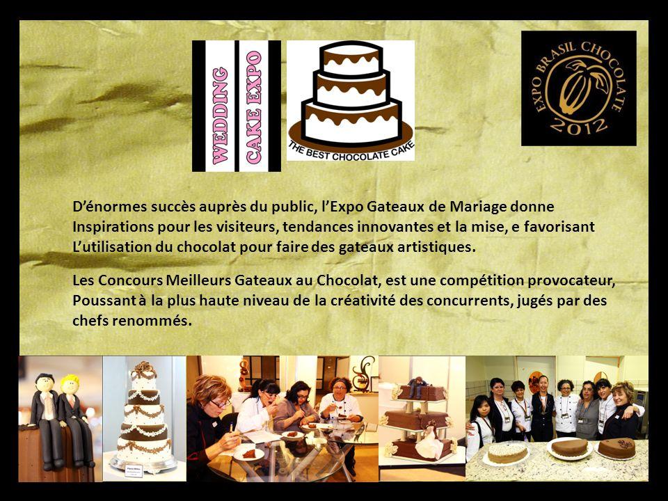 Dénormes succès auprès du public, lExpo Gateaux de Mariage donne Inspirations pour les visiteurs, tendances innovantes et la mise, e favorisant Lutilisation du chocolat pour faire des gateaux artistiques.