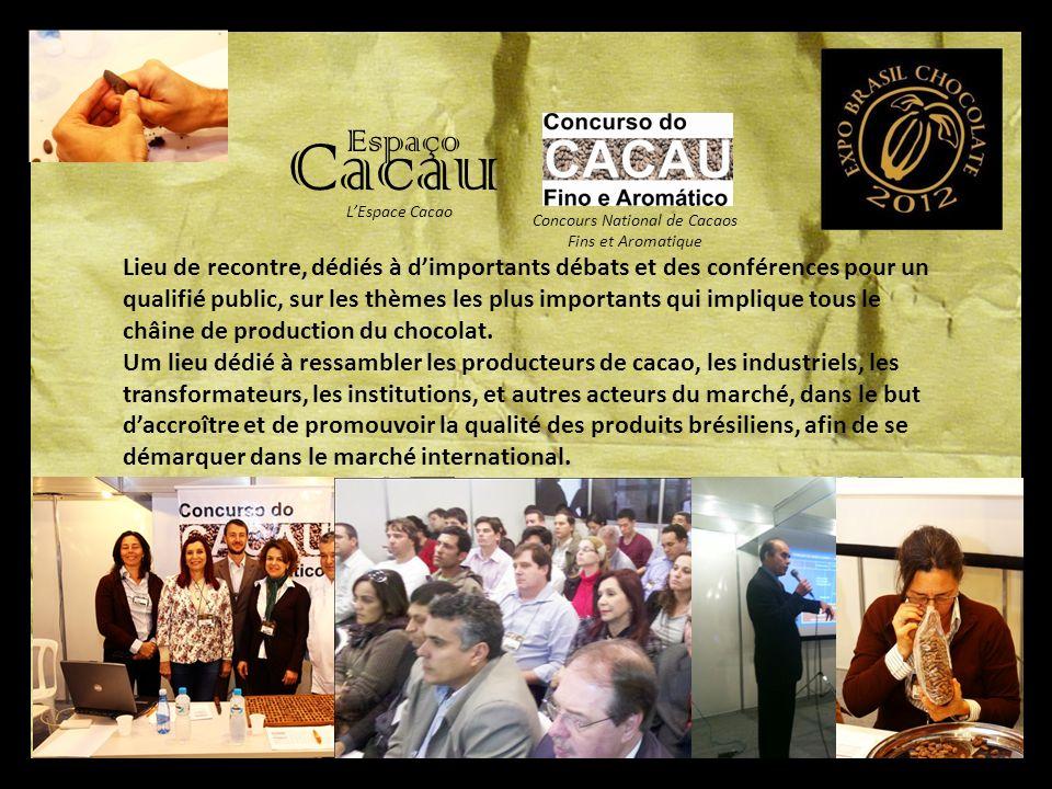 Espaço Cacau Lieu de recontre, dédiés à dimportants débats et des conférences pour un qualifié public, sur les thèmes les plus importants qui implique tous le châine de production du chocolat.