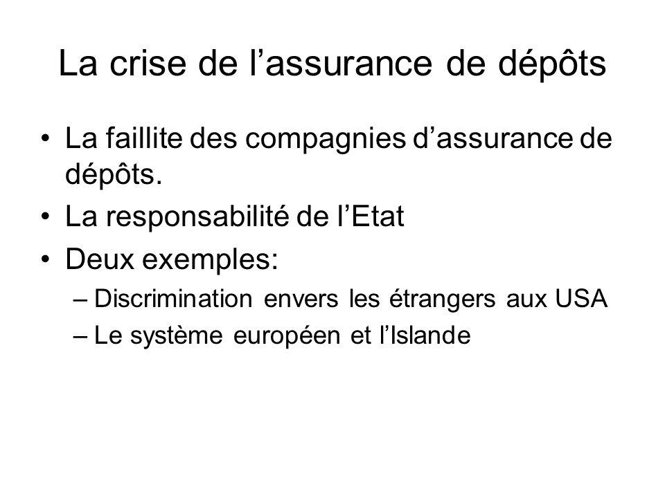 La crise de lassurance de dépôts La faillite des compagnies dassurance de dépôts.
