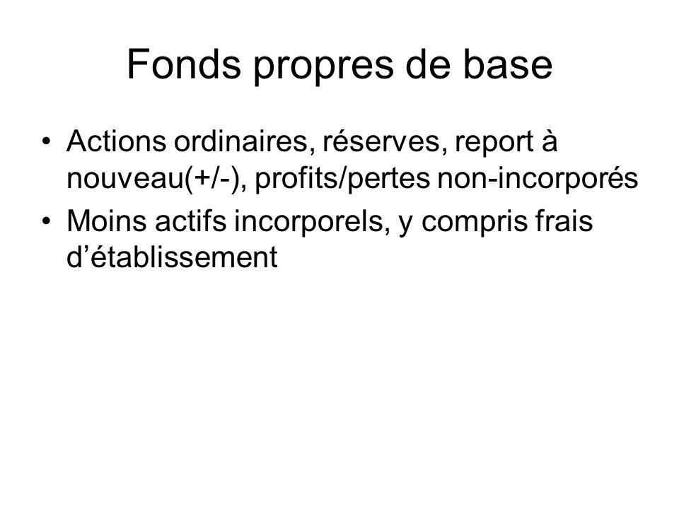 Fonds propres de base Actions ordinaires, réserves, report à nouveau(+/-), profits/pertes non-incorporés Moins actifs incorporels, y compris frais dét