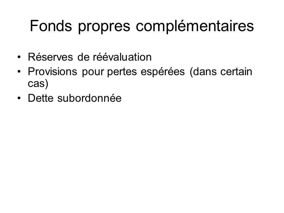 Fonds propres complémentaires Réserves de réévaluation Provisions pour pertes espérées (dans certain cas) Dette subordonnée