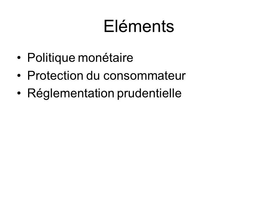 Eléments Politique monétaire Protection du consommateur Réglementation prudentielle