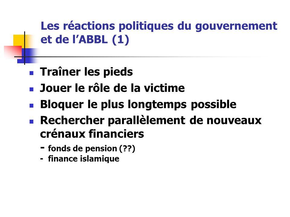Les réactions politiques du gouvernement et de lABBL (1) Traîner les pieds Jouer le rôle de la victime Bloquer le plus longtemps possible Rechercher parallèlement de nouveaux crénaux financiers - fonds de pension ( ) - finance islamique