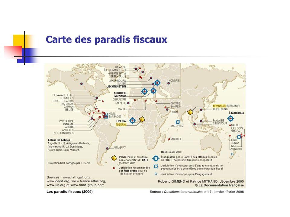 Carte des paradis fiscaux