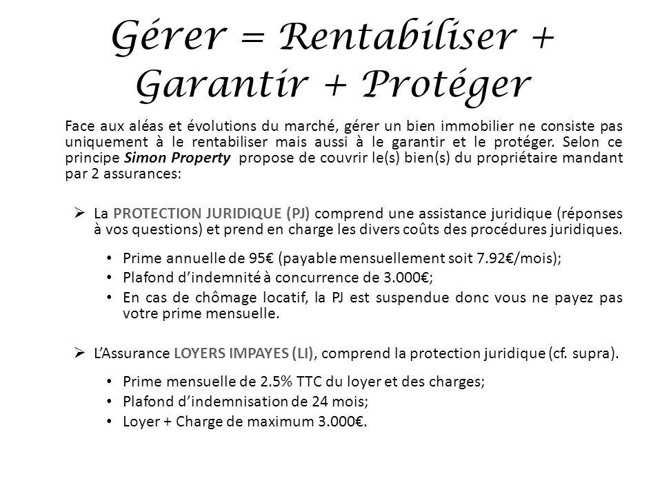 Gérer = Rentabiliser + Garantir + Protéger Face aux aléas et évolutions du marché, gérer un bien immobilier ne consiste pas uniquement à le rentabilis