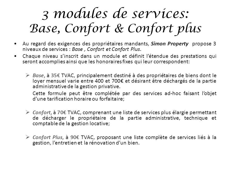 3 modules de services: Base, Confort & Confort plus Au regard des exigences des propriétaires mandants, Simon Property propose 3 niveaux de services :