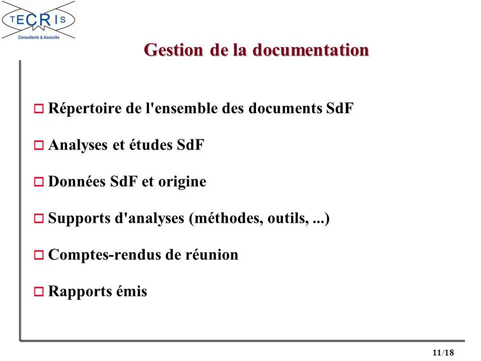 11/18 o Répertoire de l'ensemble des documents SdF o Analyses et études SdF o Données SdF et origine o Supports d'analyses (méthodes, outils,...) o Co